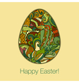 Easter egg greeting card hand drawn ornament vector