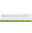 Background with a white wooden fence with grass vector