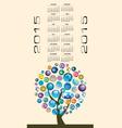 2015 globe tree calendar vector