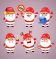 Set of cartoon santa claus builders vector
