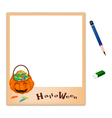 Pencil with jack o lantern picture frame vector
