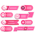 Set of pink progress version step icons vector