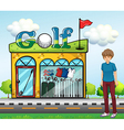 A boy at the golf store vector