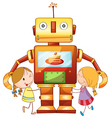 Girls and robot vector