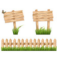 Two wooden signs and a fence with grass vector