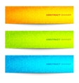 Set of colorful bright circular pixel banners vector