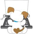 Cute puppy typewriter vector