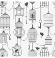 Vintage birds and birdcages collection seamless vector