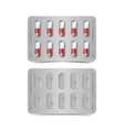 Pack of red and white capsules isolated vector