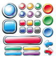 Collection of colored glossy web elements vector