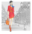Fashion girl in hat with bag vector
