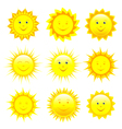 Set of smiling sun vector