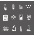 Set of white science and research icons on a grey vector