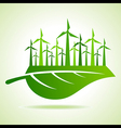 Ecology concept - leaf with wind mill vector