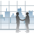 Big city business men deal handshake vector