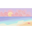 Beach and sunset with pastel colors vector