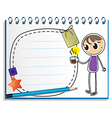 A notebook with a drawing of a boy holding a cup vector