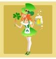 Girl elf green costume st patrick day vector