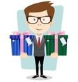 Young successful businessman gives two gifts vector