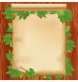 Sheet of paper on wooden board with leaf vector