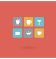 Cups with different drinks icon vector