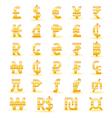 Golden currency symbols vector