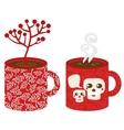Two red cups vector