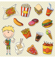 Boy with fast food vector