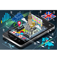 Isometric infographic of great britain on mobile vector