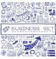 Hand drawn business set of icons vector