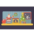 New year room santa claus with gift box and bag vector