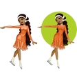 Cute young african american woman figure skater vector
