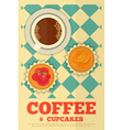 Coffee and orange and strawberry cupcakes vector