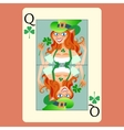 Red-haired elphicke playing card queen st patrick vector