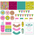 Baby girl shoes party set vector