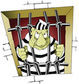 Prisoner behind bars cartoon vector