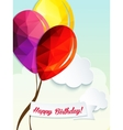 Birthday greeting card with triangle balloons vector