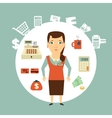 Grocery store cashier vector