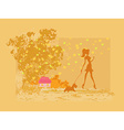 Girl silhouette walking with her dog in autumn vector