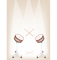 Two beautiful snare drum on brown stage background vector