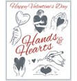 Hends and hearts - valentines day set vector