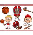 Boy with sport equipment cartoon set vector