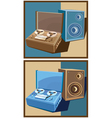 Old reel tape recorder set vector