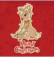Christmas reindeer tangled in garland vector