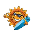 Cartoon sun character with sunglasses and vector