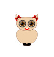 Owl with red bow- bird of prey vector