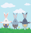 Three bunnies happy easter card vector