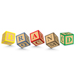 Word brand written with alphabet blocks vector