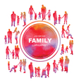 Frame with family silhouettes and watercolor effec vector