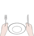 Hands holding knife and fork with vector